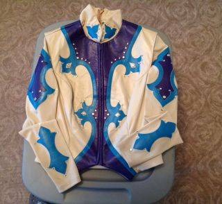 Beautiful Tan Purple Teal Hobby Horse Vest And Equitation Shirt Set