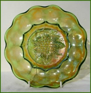 Antique Imperial Heavy Grape Green Carnival Glass Plate