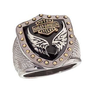 Harley Davidson Mens Silver Black Knight Ring New