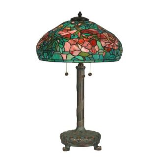 Dale Tiffany 27 Three Light Table Lamp with Art Glass Shade in