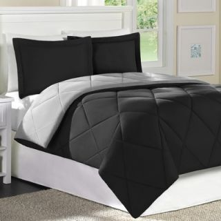 JLA Basic Columbine Microfiber Mini Comforter Set in Black / Gray