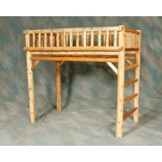 Moon Valley Rustic Twin Loft Bed with Built In Ladder