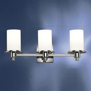 Kichler Modern Vanity Light in Polished Nickel with Opal Glass Shades