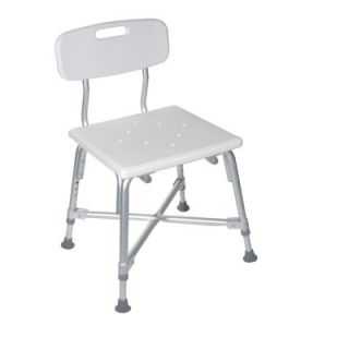Drive Medical Heavy Duty Bariatric Bath Bench in White with Back