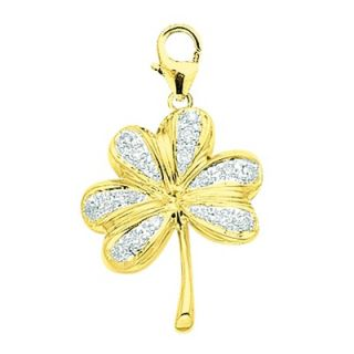 EZ Charms 14K Yellow Gold Diamond Shamrock Charm