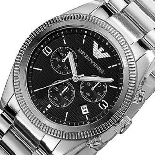 Mens EMPORIO ARMANI Chronograph New Round Analog Watch AR5897 Bracelet