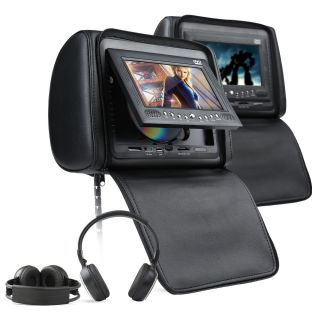 Black Leather Pillow Headrest DVD Monitor Player Headphone 9H