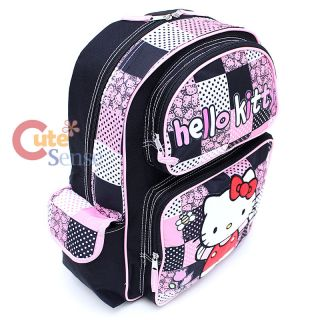 Sanrio Hello Kitty School Backpack 16 Large Book Bag   Black Quilt