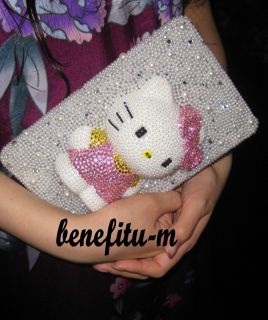 Kindle Fire Cartoon 3D Cute Bling Bling Pearl Crystal Hello Kitty Case