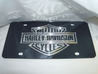 Harley Davidson Mirror Laser License Plate Black Silver New