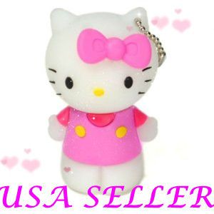 Cute Lovely Pink Stand Hello Kitty Memory USB 2 0 Flash Drive Keychain