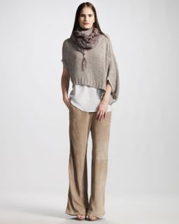 Brunello Cucinelli Cropped Asymmetric Sweater, Leaf Print Scarf