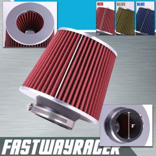 High Performance Red 3 Inlet Cone Dry Flow Air Filter Oil Free Intake