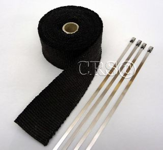 High Heat Black Fiberglass Exhaust Wrap Kit Pipe Turbo Tape Ceramic