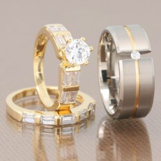 His Hers 3 Pcs Mens Womens Gold EP Titanium Cubic Zirconia Wedding