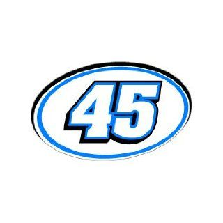 45 Number Jersey Nascar Racing   Blue   Window Bumper Sticker