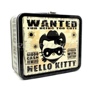 Hello Kitty Western Bandit Lunch Box Pail Case Cute Sanrio Genuine
