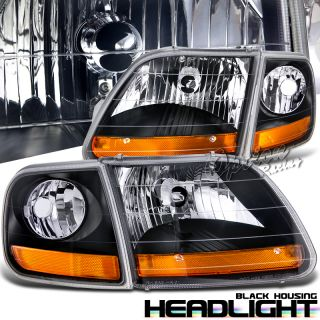 97 98 99 00 01 02 03 Ford Truck Harley Davidson Black Head Lights