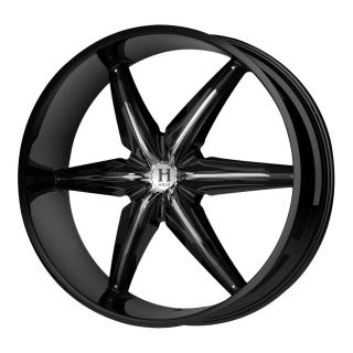New Helo HE866 Gloss Black Wheel Rims Chrome Accents (20x8.5/6x135mm