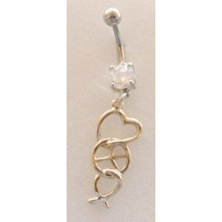Golden Love Hope Peace Fancy Pronged CZ Dangle Belly Ring