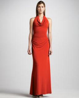 Nicole Miller Drape Neck Jersey Gown