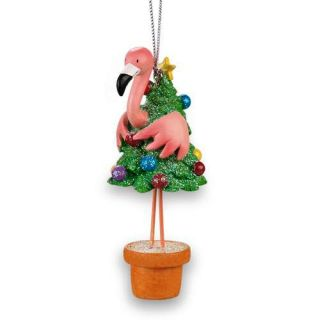 tropical tiki pink flamingo christmas holiday tree ornament