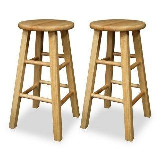 Set of 2 Solid Wood 24H Kitchen Square Leg Bar Stools