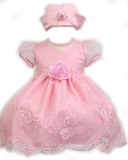 Elegant Baby Girl Pink Dress & Hat. Available in 12,18,24