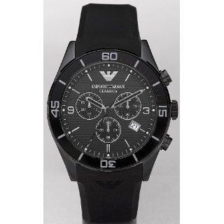 Armani Ceramica Chrono Black Dial Mens watch #AR1434 Watches