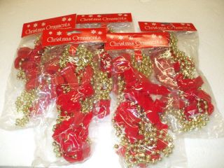 Red Velvet Bow Bead 7 Foot Christmas Garland