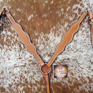 New Hilason Western Leather Horse Breast Collar Hand Tooled Tack Light