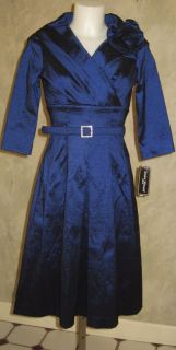 Jessica Howard Belted Portrait Collar Dress with Rosette Sz 6P $119