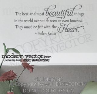 Helen Keller Vinyl Wall Quote Decal Beautiful Things