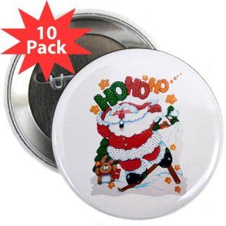 2.25 Button (10 Pack) Merry Christmas Santa Claus Skiing