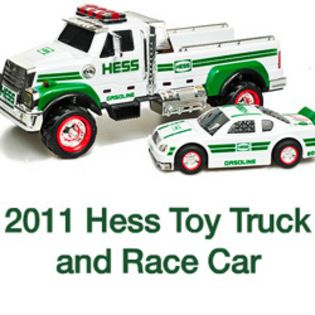 2011 Hess Flatbed Toy Truck and Race Car