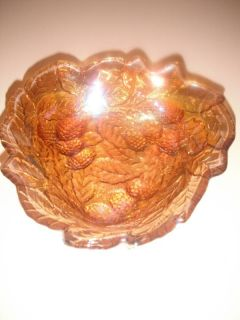 Vintage Berry Leaf Iridescent Carnival Glass Bowl