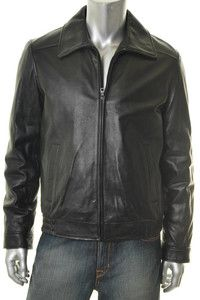 Tommy Hilfiger New Mens Jacket Black Leather Coat XL