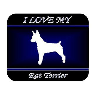 I Love My Rat Terrier Dog Mouse Pad   Blue Design