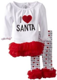 Mud Pie Baby Girls Infant I Love Santa Tunic and Leggings