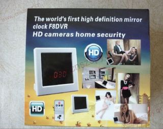 F8 Home Security Mirror Clock HD Hidden Spy Cam Remote Control Motion