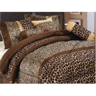 7 Piece Safari   Zebra   Giraffe Print Brown Micro Fur