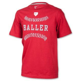 Kids Nike Baller Tee Shirt Varsity Red/Dark Grey