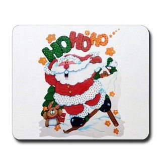 Mousepad (Mouse Pad) Merry Christmas Santa Claus Skiing Ho