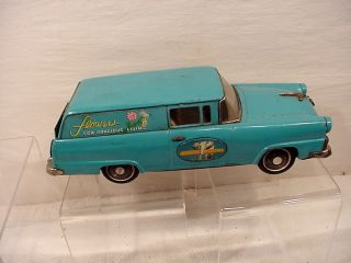 VINTAGE TIN TOY FRICTION HUGE FORD STATION WAGON BANDAI JAPAN FLOWERS