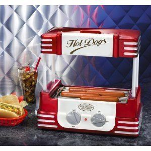 Nostalgia Electrics Hot Dog Cooker Roller Grill w/ Bun Storage FAST
