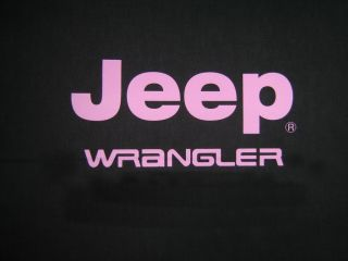 Jeep Wrangler logo direct screen printed in HOT PINK.