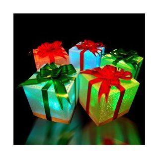 9 Christmas Holiday LED Light Up Gift Box Ornaments (slow