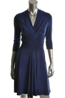 Jessica Howard New Blue Pleated Knee Length Wear to Work Dress Petites
