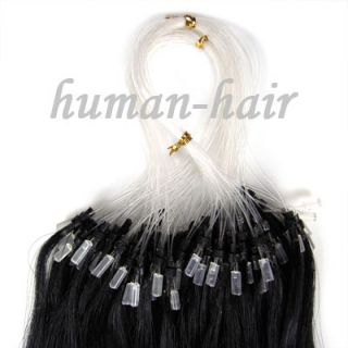 Indian Remy Loop Micro Rings Human Hair Extensions 100S #01 Jet Black