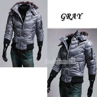Korean Mens Zip Up Fur Winter Slim Hoodies Hooded Coat Jacket Outwear